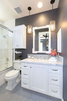 Bathroom renovation ideas / bar - Find and save ideas about bathroom design Ideas on 65 Most Popular Small Bathroom Remodel Ideas on a Budget in 2018 This beautiful look was created with cool colors, marble tile and a change of layout. Beautiful Small Bathrooms, Small Elegant Bathroom, Glamorous Bathroom, Upstairs Bathrooms, Gray Bathrooms, Gold Bathroom, Vanity Bathroom, Modern Bathroom, Dark Gray Bathroom