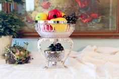 Crystal Bowl Set with Silver Rim - Silver Plate Stand - 3 Piece Serving Set - Bowl Set with Silver Plate Edge