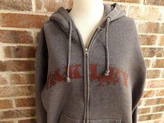OAKLEY Beimar Zip Front Hooded Sweatshirt Jacket Fleece Hoodie Mens L Grey Coat #Oakley #TrackJacket