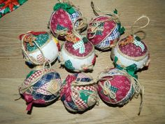 7 Vintage Fabric and Twine Christmas Ball Ornaments - Country Christmas - Rustic Country Charm by MemeresAttic on Etsy