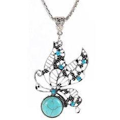 Hollow Bohemian Rhinestone Butterfly Necklace