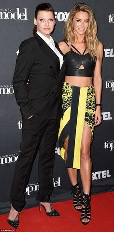 Perfect pose: Linda Evangelista and Jennifer Hawkins promoting Australia's Next Top Model on Thursday