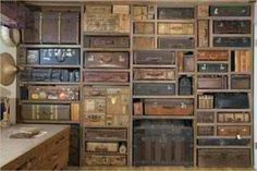 """Vintage suitcase storage solution """" How'd you like to have storage like this in your home or office? Photo via Gail Rieke. If the sight of vintage suitcases and/or trunks makes you swoon, check out. Vintage Suitcases, Vintage Luggage, Vintage Trunks, Antique Trunks, Vintage Travel, Small Suitcases, Wooden Trunks, Wooden Crates, Vintage Market"""