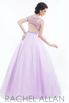 Soft tulle ball gown with beaded neckline prom dress by Rachel Allen