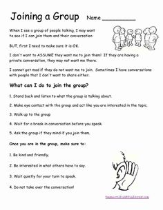 SOCIAL SKILLS~ Teach students these steps for joining a group. So basic, but so critical for children to master!