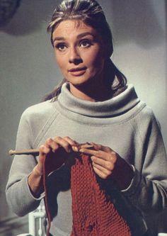 Audrey Hepburn knits in 'Breakfast At Tiffany's', 1961