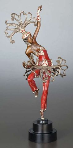 Erte – 'Firedancer'. Patinated and cold painted Art Deco sculpture. Circa-1990