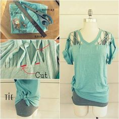 How to Refashion a Basic Tee into a No Sew Lattice Stud T-shirt