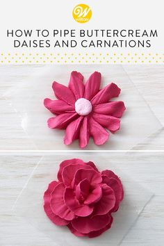 Create a lovely edible garden right from the comfort of your own home! Using stiff consistency buttercream and a couple of standard piping tips, you can learn how to pipe buttercream flowers on your favorite homemade (or store-bought) cupcakes. This step-by-step video will teach you how to pipe a buttercream daisy and a buttercream carnation. #wiltoncakes #buttercreamflowers #homemade #baking #royalicing #floral #spring #cupcakes #cakes #cakedecorating #cupcakedecorating #howto #tutorial… Cake Decorating Piping, Cookie Decorating, Decorating Cakes, Cake Decorating Techniques, Cake Decorating Tutorials, Buttercream Flowers Tutorial, Daisy Decorations, Frosting Techniques, Chocolate Fondant