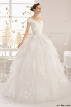aire barcelona 2015 anabel sleeveless lace neckline ball gown gathered skirt