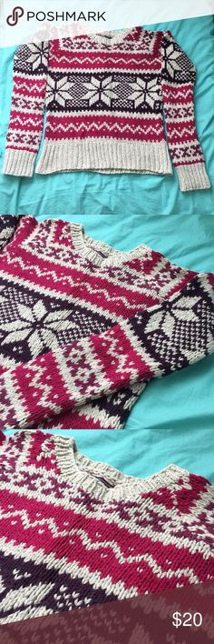 Fair Isle Sweater Fair sweaters with pink, purple, and cream pattern! Super warm and perfect for layering in the winter. Make me an offer! American Eagle Outfitters Sweaters Crew & Scoop Necks