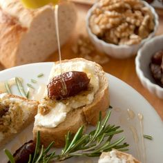 Crostini topped with smooth ricotta, walnut pesto, sweet dates and ...