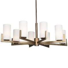 Wesley Chandelier by Robert Abbey at Lumens.com | With its angled arms and cylindrical shades, the Robert Abbey Wesley Chandelier has truly sharp modern style. Its frame has an overall oval shape (nearly 4 feet wide), with 8 White cased glass shades creating a bright wash of ambient light, and a single downlight in the central column bringing focus onto a tabletop below. | $1367