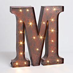 "12""H Battery Operated LED Letter, Timer, Letter M"