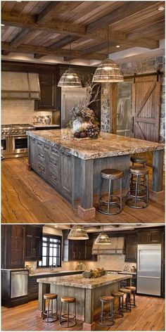 Next Post Previous Post 27 Cabinets for the Rustic Kitchen of Your Dreams Sierra Escape Rustic Wood & Stone Kitchen. Rustic Kitchen Cabinets, Rustic Kitchen Design, Rustic Design, Kitchen Wood, Wood Cabinets, Kitchen Designs, Primitive Kitchen, Kitchen Countertops, Brown Cabinets