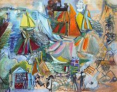 """Raoul Dufy """"Visite De L'Escadre Anglaise Au Havre"""" 1927-29 gouache on paper"""