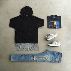 Outfit: : #424 : #ennoir : #Adidas UltraBoost Dope Outfits For Guys, Lit Outfits, Casual Outfits, Fashion Outfits, Outfits Hombre, Black And White Shoes, Mens Trends, Outfit Grid, Streetwear Fashion