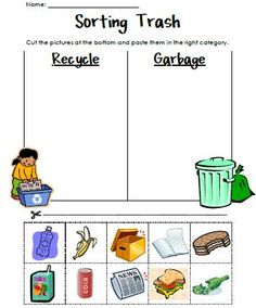 Sorting Trash - An Earth Day Lesson. Great for teaching recycling Kindergarten Science, Science Classroom, Teaching Science, Kindergarten Worksheets, Classroom Activities, Teaching Art, Teaching Ideas, April Preschool, Free Preschool