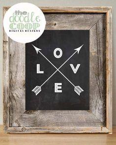 Chalkboard Love Arrow Print- Digital Download