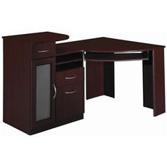 Corner Desk: A desk that is meant to fit into the corner of a room, usually has a backside that forms a 90 degree angle to accommodate for this.  #cornerdesk #homeofficedesk #officefurniture