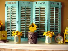 I really love these painted shutters with words :)  Very colorful and creative.  And I love words ;)