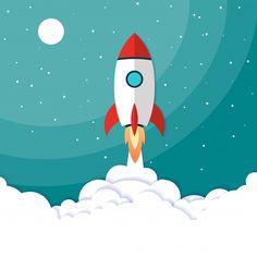 Vector illustration concept rocket launch Premium Vector Buda Wallpaper, Rocket Drawing, Adobe Indesign, Rocket Design, Space Illustration, Modern Business Cards, Lettering, Vector Art, Vector Illustrations