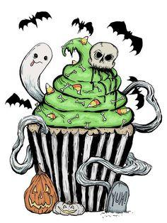 halloween tattoos 'Gothic Cupcake ' Sticker by melancholymoon Halloween Tattoo, Halloween Drawings, Halloween Crafts, Happy Halloween, Halloween Decorations, Halloween Costumes, Halloween Things To Draw, Kawaii Halloween, Halloween Magic
