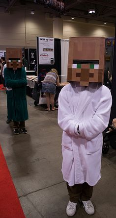 A Minecraft villager / Dr Treyorus. Such a simple and effective costume - great idea