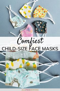 Comfiest Child Size Face Mask Tutorial: Learn how to make the most comfortable masks for toddlers and small children. It's easy with this tutorial and guide full of tips. Sewing Projects For Kids, Sewing For Kids, Mask Template, Face Masks For Kids, Best Face Mask, Best Face Products, It's Easy, Diy Gifts, Little Ones