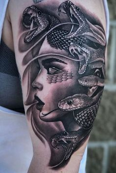 Are you thinking about getting a Medusa tattoo or wondering why Medusa tattoos are so popular? This article is all about Medusa tattoos and their meanings. Viking Tattoo Sleeve, Realistic Tattoo Sleeve, Viking Tattoos, Medusa Tattoo Design, Sketch Tattoo Design, Tattoo Sleeve Designs, Girl Arm Tattoos, Badass Tattoos, Body Art Tattoos