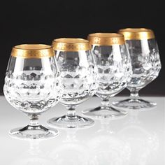 4 Cognacgläser Driburg Kristall Goldrand Goldbordüre Bleikristall Gläser K80