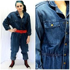 f5186d9840c 80s denim jumpsuit   size 10   12   retro jean jumpsuit   romper   Oakbrook  made in USA   long sleeve denim jumpsuit   coveralls