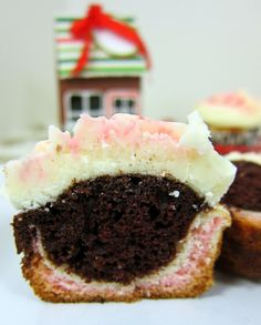 Chocolate Peppermint Cupcakes - candy cane and chocolate batter with peppermint buttercream