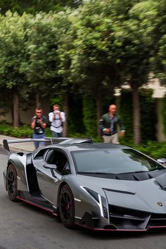 Luxury car Lamborghini Grey with touch of pink