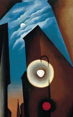 Georgia O'Keeffe - Now open at Tate Modern New York Street with Moon 1925 Museo Thyssen-Bornemisza (Madrid, Spain) © 2016 Georgia O'Keeffe Museum/DACS, London Alfred Stieglitz, Georgia O'keeffe, Wisconsin, Santa Fe, New Mexico, Georgia O Keeffe Paintings, Robert Rauschenberg, New York Art, New York Street