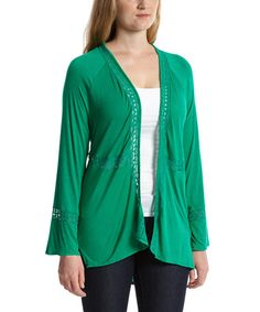 Look what I found on #zulily! Emerald Lace-Accent Open Cardigan by Simply Irresistible #zulilyfinds Green Cardigan, What A Girl Wants, Open Front Cardigan, Green Tops, Cardigans For Women, Fall Winter Outfits, Crochet Clothes, Emerald, Green Cardigan Outfit