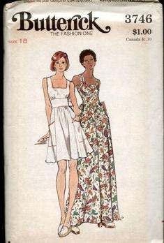 Butterick 3746 : Misses' Dress    circa 1970s