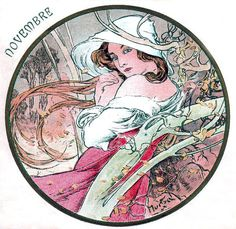 Postcard design for the month of November by Alphonse Mucha
