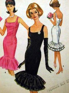 1960s Bardot Style Evening Cocktail Dress Pattern Bombshell Fishtail Flounce Sheath Dress McCalls 6085 Vintage Sewing Pattern Bust 34
