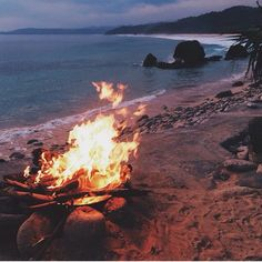 Amazing night at the beach. A bonfire while listening to the ocean.