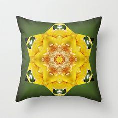 Orchid - Cymbidium Via Ambarino mandala/kaleidoscope I Throw Pillow by RVJ Designs - $20.00