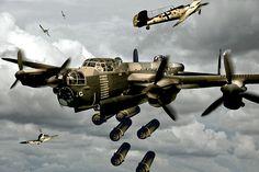 British Lancaster bomber----La Pintura y la Guerra. Sursumkorda in memoriam Ww2 Aircraft, Fighter Aircraft, Military Aircraft, Fighter Jets, Bomber Plane, Lancaster Bomber, Aircraft Painting, War Thunder, Airplane Art