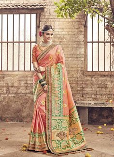 Heavy Designer Banarasi Silk Peach Colored Saree