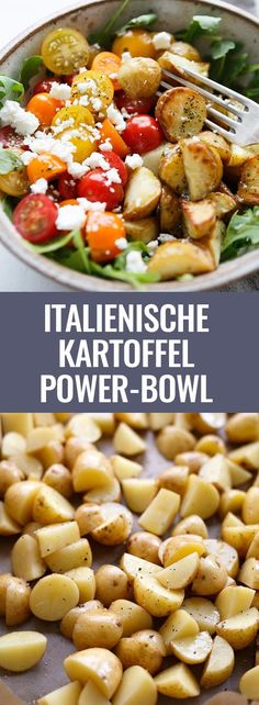 Power Bowl with Garlic Olive Oil Dressing - Cooking Carousel - Italian Potato Power Bowl with Garlic Olive Dressing. This simple recipe is packed with rocket, tom -Potato Power Bowl with Garlic Olive Oil Dressing - Cooking Carousel - . Salmon Recipes, Veggie Recipes, Pasta Recipes, Vegetarian Recipes, Chicken Recipes, Dinner Recipes, Healthy Recipes, Potato Recipes, Vegetarian Italian