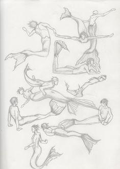 Mermaid/men pose study
