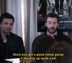 Chris Evans, describing the Captain America suit. Sebastian Stan is certainly amused by *something*.