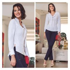 Casual Wear, Casual Outfits, Fashion Outfits, Womens Fashion, Pants Outfit, Shirt Blouses, Ruffle Blouse, Glamour, Street Style