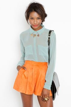 Nastygal.com...love the ensemble but especially the touch the necklace adds