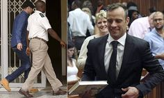 Oscar Pistorius arrives to be fitted with electronic device