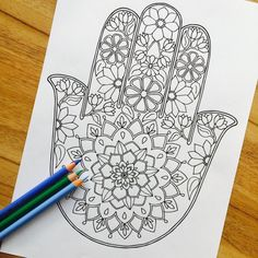 Hamsa Daydream Hand Drawn Colouring Print by MauindiArts on EtsyClick the link now to find the center in you with our amazing selections of items ranging from yoga apparel to meditation space decor!